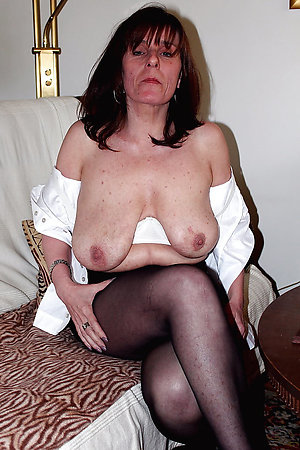 Cute horny old lady in pantyhose