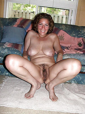 Naked grown-up women with hairy pussies
