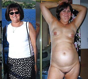 Slutty mature in the lead and after pic