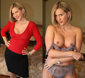 Beautiful mature dressed undressed photo